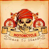 illustration of skull in vintage motorcycle poster