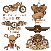 illustration of vintage motorcycle design element with skull