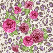 Stylish animal pattern with roses.Seamless background. Raster version.