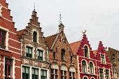 Bruges, Row Of Gables, Old Town Houses.