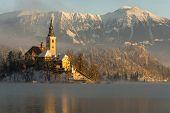 Sunrise on Bled island