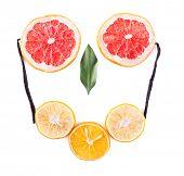 Still life of slicer of citrus isolated on white