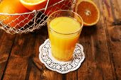 Glass of orange juice on lace doily with metal basket and slices on wooden table background