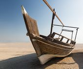 Fishermans Boat Or Dhow On Sand
