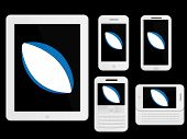 Mobile Devices With Rugby Ball White