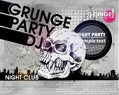 grunge print for background parrty with skull. Grunge banner with an inky dribble strip with copy space. Abstract background for party