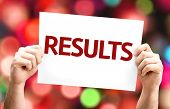 Results card with colorful background with defocused lights