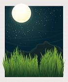 Vector landscape Illustration with full moon at night and grass blades in foreground