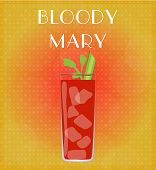 Drinks List Bloody Mary With Red & Golden Background
