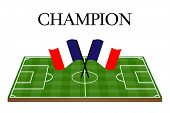 Football Champion Field With French Flag