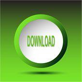Download. Plastic button. Vector illustration.