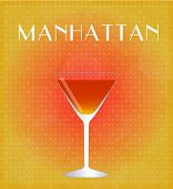 Drinks List Manhattan With Red & Golden Background