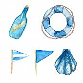 Nautical design elements hand painted in watercolor. Bottle with messsage, life buoy, blue signal fl
