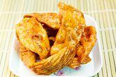 stock photo of crisps  - caramelized crisps thai dessert made of flour and sugar - JPG