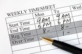 picture of payroll  - Filling the weekly time sheet for payroll - JPG