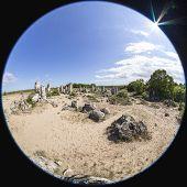 Panorama Of Pobiti Kamani (standing Stones, Stone Forest) Unique Natural Rock Phenomenon