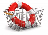 Shopping Basket and Lifebuoy (clipping path included)