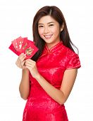 Chinese woman hold with lucky pocket money
