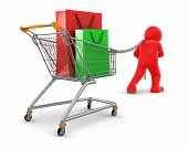 Man and Shopping Cart with bags (clipping path included)