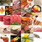 image of high calorie foods  - high protein food collection collage nested on white frame - JPG