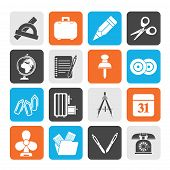 Silhouette Business and office objects icons Silhouette Business and office objects icons - vector i