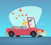 picture of designated driver  - Cartoon Convertible Car Happy Male and Female Couple Love Characters Icon Modern Design Stylish Background Retro Flat Design Vector Illustration - JPG