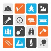 Silhouette Camping, travel and Tourism icons
