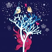 Winter Card With Love Birds In The Trees