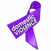 Domestic Violence 3d words on a purple ribbon to raise awareness against the problem of family or spousal abuse in the home