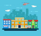 image of suburban city  - Urban Landscape Hospital Shop Residential House Street Background Flat Design Vector Illustration - JPG