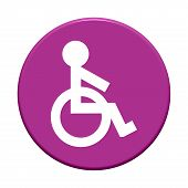 Round Button with wheelchair symbol