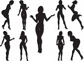 picture of curvaceous  - Silhouettes of women with curvaceous and erotic poses on a white background - JPG