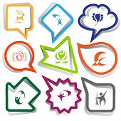Abstract set. Paper stickers. Vector illustration.