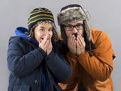 Father and Son Shiver with Cold