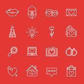St. Valentine's Day Line Icon Set. Love, Wedding Or Dating Romantic Symbols. Heart, Rings, Love Lett