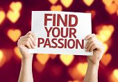Find Your Passion card with heart bokeh background