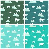 4 seamless backgrounds colorful polar bears and icebergs