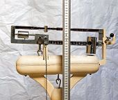 Scale With The Meter To Measure The Weight And Height Of Patients