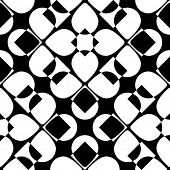 Abstract Petal Pattern. Vector Seamless Background. Regular Black and White Texture