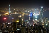 Nightview from Victoria Peak in Hong Kong