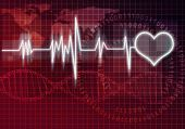 foto of cardiovascular  - Digital background image with heart on color backdrop - JPG