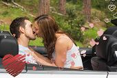 Young couple smooching on the backseat against heart
