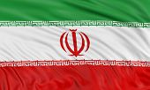 stock photo of iranian  - 3D Iranian flag with fabric surface texture. White background. ** Note: Visible grain at 100%, best at smaller sizes - JPG