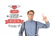Geeky hipster covered in kisses against cute valentines message