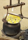 Boiling Cocoon In A Pot To Prepare A Cocoon Silk.