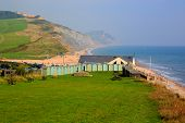 Charmouth Dorset England UK overlooking Lyme Bay with green fields and coast