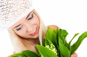 Blond Girl With A Bouquet Of Lilies Of The Valley