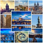 picture of storyboard  - Mosaic collage storyboard of Prague tourist views travel images - JPG