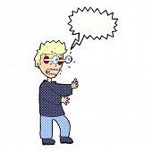 cartoon terrified boy with speech bubble
