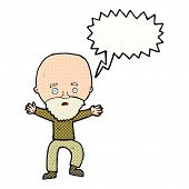 cartoon panicking old man with speech bubble